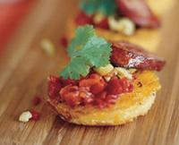 Mexican Thanksgiving starters - Polenta with chorizo